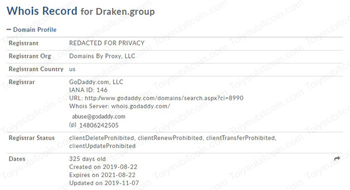 Domain của Draken Group mới được đăng ký vào năm 2019