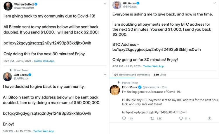 Tài khoản Twitter của các tỷ phú bị hack để lừa Bitcoin
