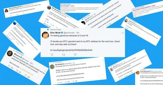 Hàng loạt tài khoản của các công ty, người nổi tiếng trên Twitter bị chiếm quyền sử dụng, đăng thông tin lừa đảo về giao dịch Bitcoin hôm 15/7. Ảnh: Thenextweb.