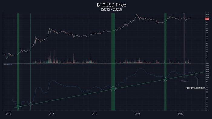 Biểu đồ giá hàng tuần của Bitcoin với mô hình giá mới. Nguồn: Willy Woo