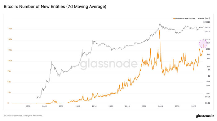 Biểu đồ trung bình động 7 ngày của các thực tể Bitcoin mới. Nguồn: Glassnode