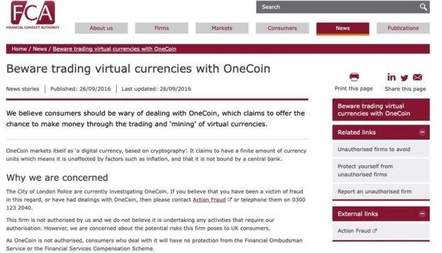 Thông báo của FCA đã bị gỡ bỏ mặc dù Cảnh sát Thành phố London tiếp tục điều tra về OneCoin trong nhiều năm sau đó