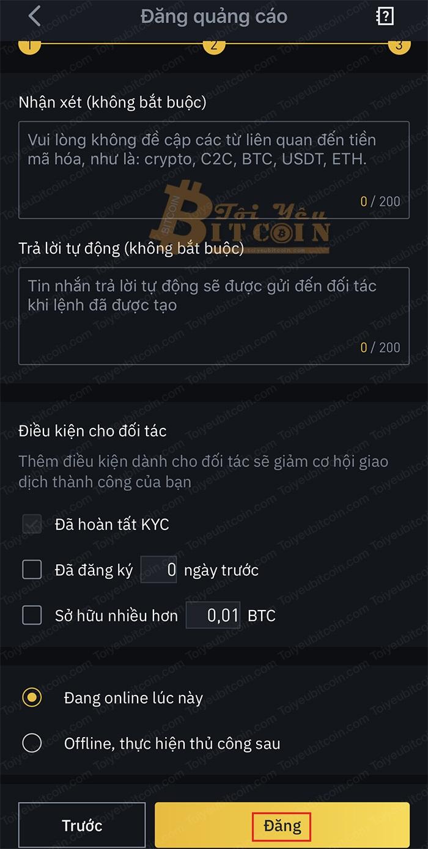 Cách tạo quảng cáo bán coin trên Binance P2P. Ảnh 3