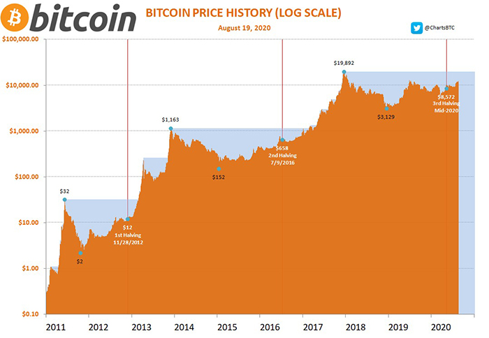 Biểu đồ giá Bitcoin với dữ liệu halving. Nguồn: ChartsBTC/ Twitter