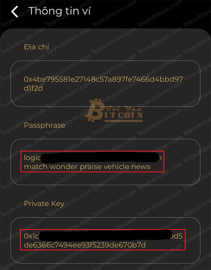 Cách quản lý ví và lấy Passphrase, Private Key. Ảnh 3
