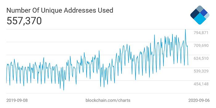 Hoạt động của mạng lưới bitcoin tương đối ổn định. Nguồn: Blockchain.com