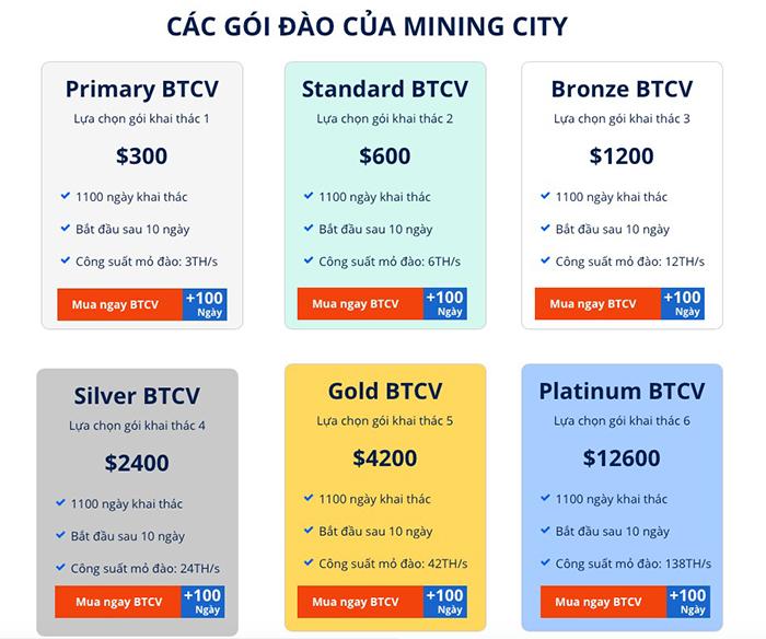 Các gói đào tiền ảo do Mining City cung cấp. Ảnh: picuki.com