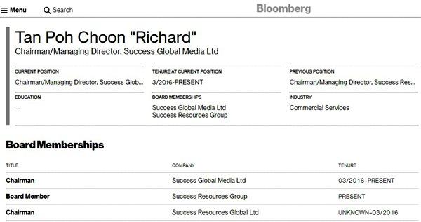 Thông tin hiếm hoi về Richard Tan (Tan Poh Choon) - chủ tịch của Success Resources Group và Success Global Media. Tên của ông không hề có trong danh sách xếp hạng tỷ phú theo thống kê của cả Forbes và Bloomberg.