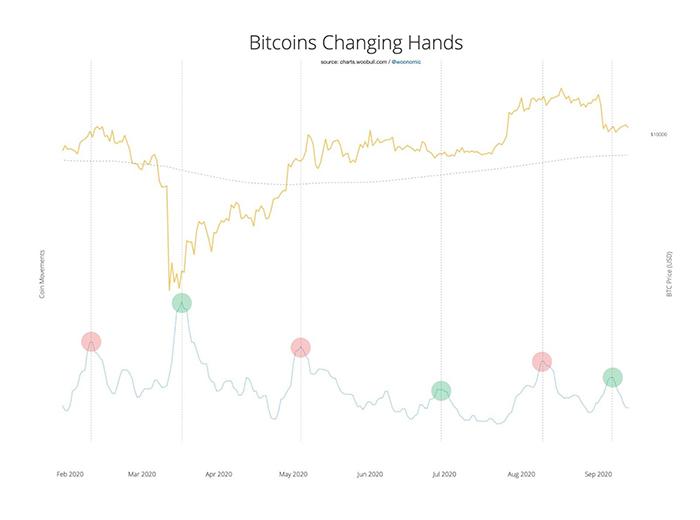 Hoạt động on-chain Bitcoin với biểu đồ 6 tháng của giá Bitcoin. Nguồn: Willy Woo/ Twitter