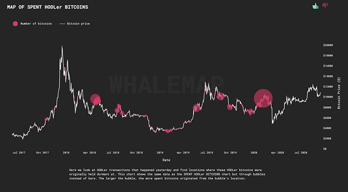 Các cụm cá voi Bitcoin lớn trên biểu đồ giá hàng ngày của Bitcoin. Nguồn: Whalemap
