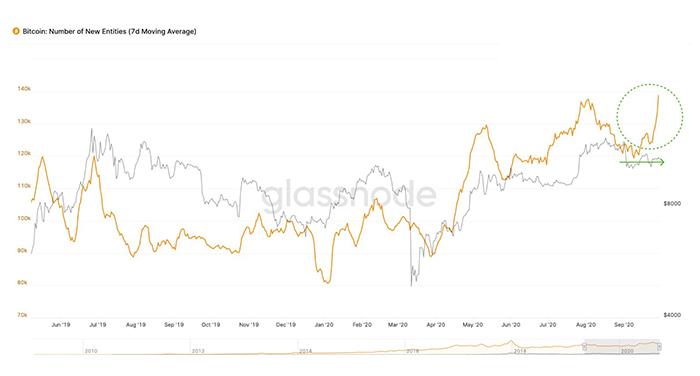 Bitcoin: Số lượng thực thể mới so với giá. Nguồn: Glassnode