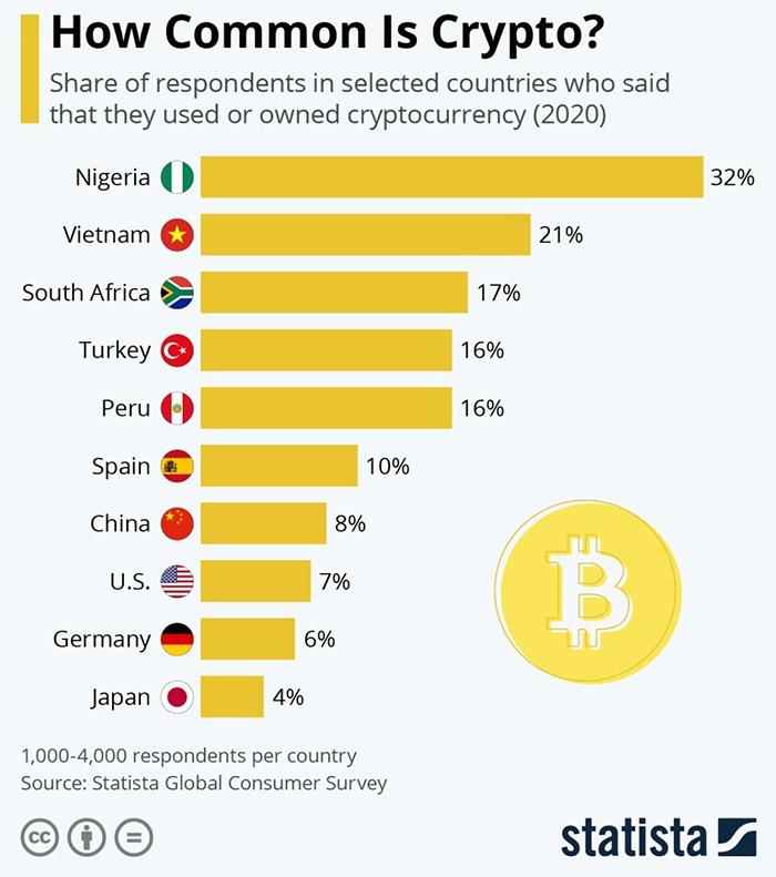 Tỷ lệ % những người trước đây đã sử dụng Bitcoin. Nguồn: Statista