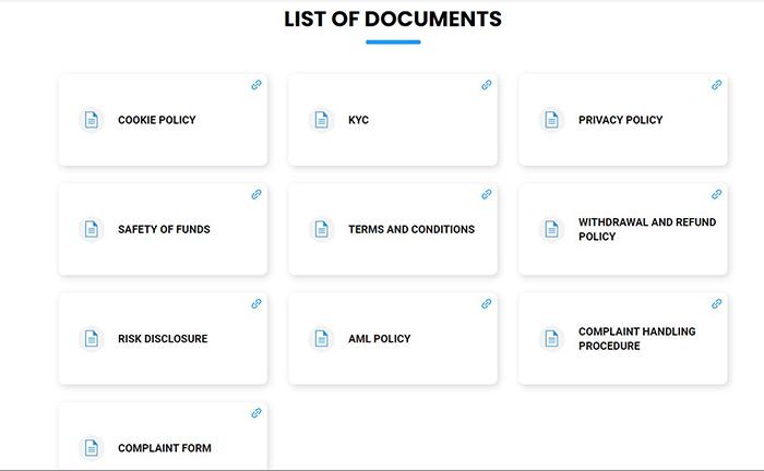 Những giấy tờ pháp lý của sàn Investlite