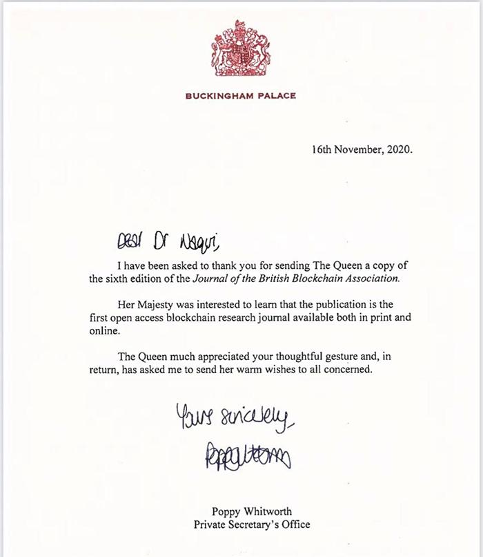 Thư cảm ơn của Nữ hoàng Anh Elizabeth II gửi đến Chủ tịch Hiệp hội Blockchain Anh Quốc