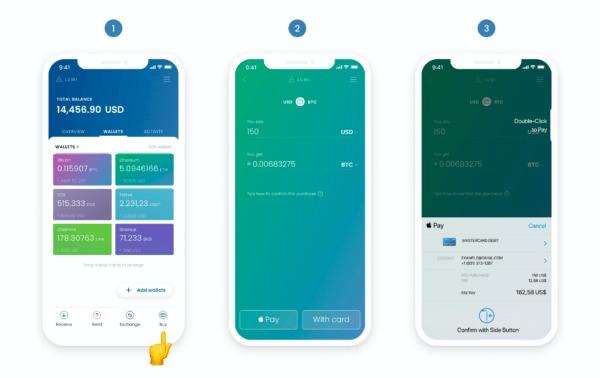 Người dùng của Lumi Wallet có thể mua BTC, ETH và thanh toán bằng Apple Pay.