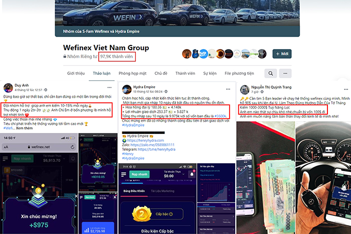 """Một nhóm Wefinex trên mạng xã hội Facebook có số lượng thành viên lên đến gần 100 ngàn người. Các thành viên liên tục khoe """"chiến tích"""" và kêu gọi người khác tham gia vào hệ thống của mình."""