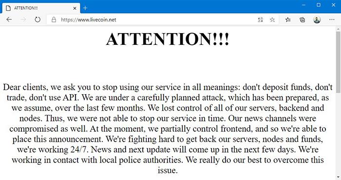 Thông báo bị hack của Livecoin