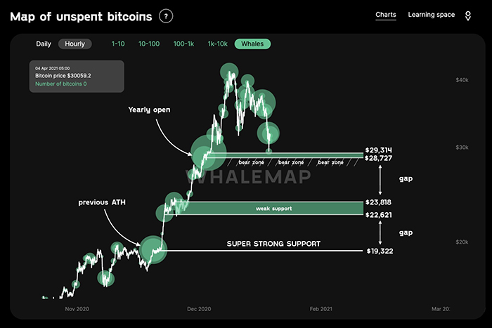 Biểu đồ các mức hỗ trợ của cá voi Bitcoin. Nguồn: Whalemap / Twitter