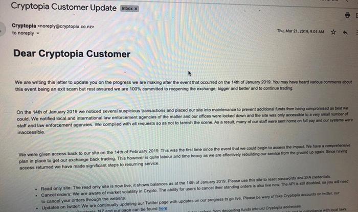 Bức thư được Cryptopia gửi cho anh Khoa vào tháng 3/2019, thông báo khắc phục sự cố sau khi sàn bị tấn công hồi tháng 1 cùng năm. Ảnh: Nhân vật cung cấp.