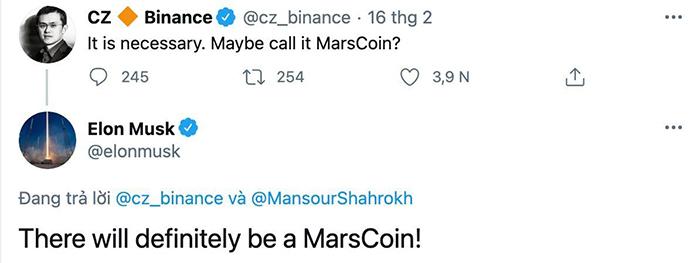 Bài đăng nhắc đến Marscoin của Elon Musk. Ảnh: Chụp màn hình.