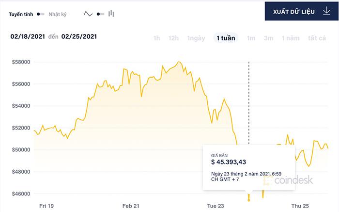Giá Bitcoin đã có những biến động mạnh trong tuần qua, thời điểm thấp nhất đồng tiền ảo này giảm còn 45.393 USD ngày ngày 23/2.