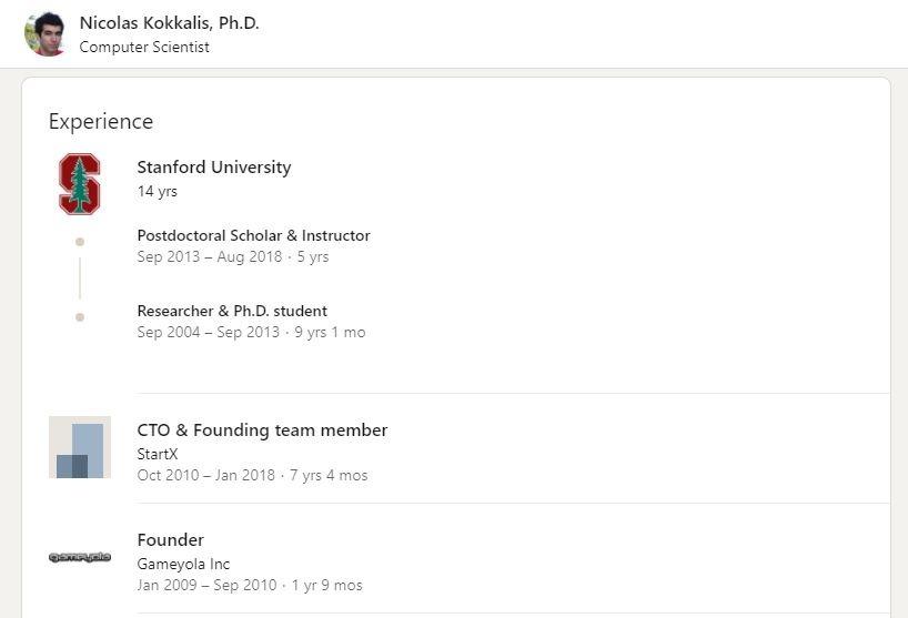 Trang LinkedIn của Tiến sĩ Nicolas Kokkalis.