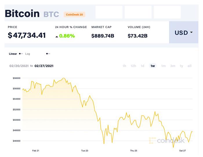 Biến động của Bitcoin trong vòng một tuần qua. Ảnh: Coin Desk.