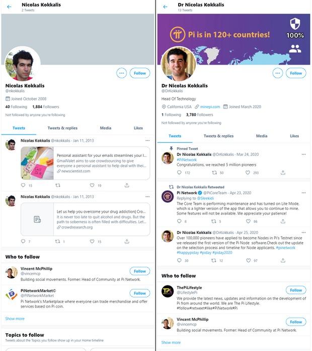 Tài khoản Twitter của Kokkalis không hề nhắc đến Pi Network, còn tài khoản còn lại cũng chỉ đăng vài dòng tweet về dự án trong vòng 1 tháng sau khi lập.