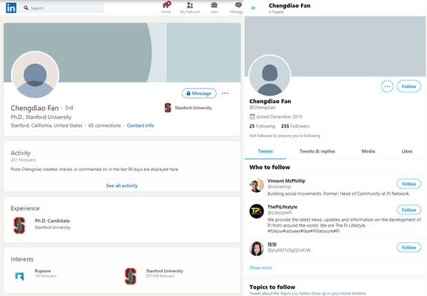 Các tài khoản mạng xã hội của tiến sĩ Chengdiao Fan cũng chẳng hề nhắc đến Pi Network.