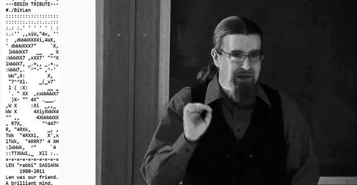Len Sassaman và cáo phó dành cho ông được cộng đồng Bitcoin nhúng trong khối 138725. Ảnh: Medium.