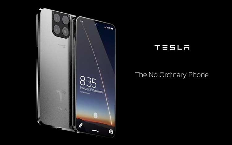 Concept smartphone Tesla Model X với khả năng kết nối với giao diện điện não Neuralink, có thể khai thác tiền điện tử. Nguồn: Antonio De Rosa.