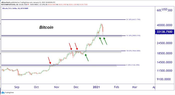 Parets dự đoán giá đồng Bitcoin theo biểu đồ trên. Ảnh: Fortune.