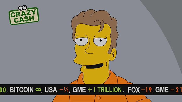 """Dòng tít thông báo giá Bitcoin đạt đến """"vô cực"""" trong The Simpsons"""
