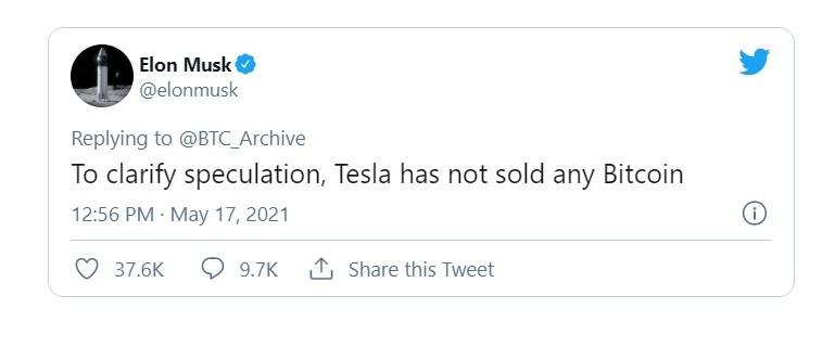Tỷ phú Elon Musk khẳng định Tesla chưa bán Bitcoin. Ảnh: Twitter.