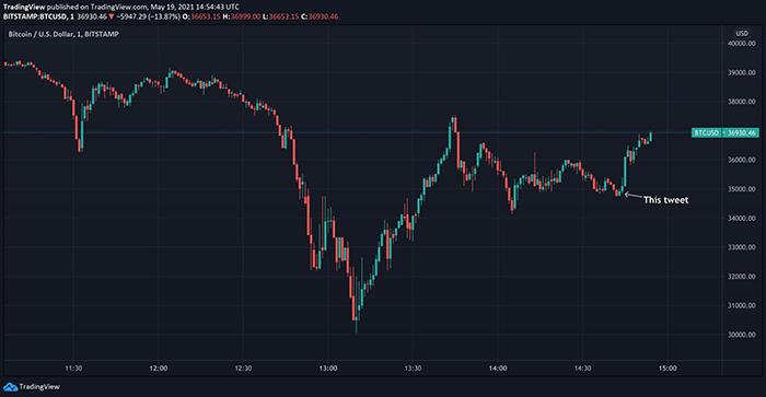 Ngay sau câu nói của Elon Musk, mức giá Bitcoin lại tăng. Ảnh: TradingView.