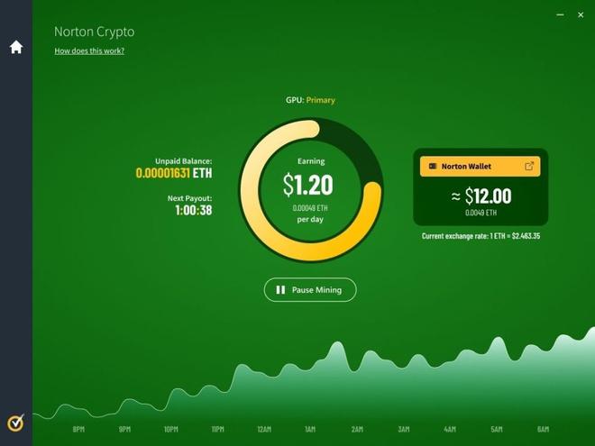Tính năng Norton Crypto cho phép người dùng khai thác Ethereum bằng phần mềm diệt virus Norton 360. Ảnh: NortonLifeLock.