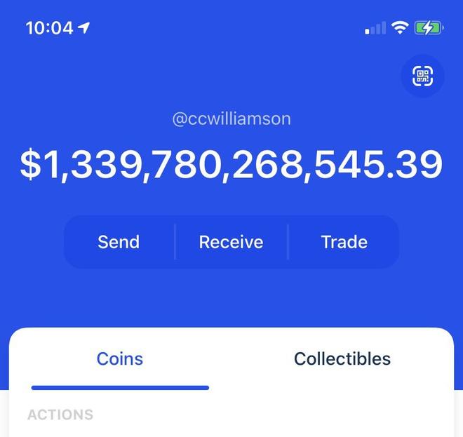 Tài khoản ví của Chris Williamson trên Coinbase hiển thị số dư tới hơn 1,3 nghìn tỷ USD. Ảnh: Chris Williamson.