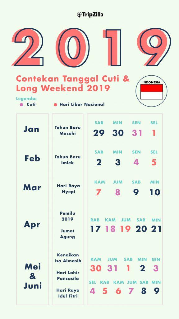 Tanggal Cuti Long Weekend hari libur nasional 2019 indonesia