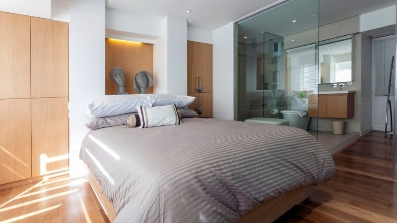 airbnb in bgc with wooden furnishings