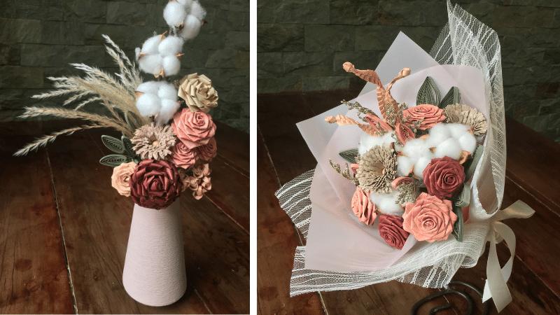 bulacan buri bouquets with philippine cotton