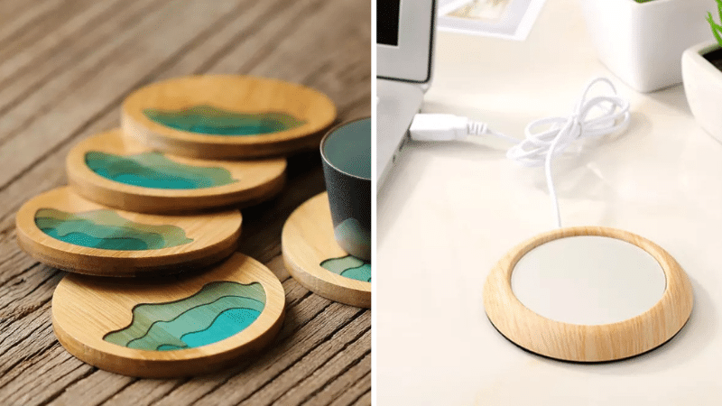 aesthetic items: wooden coasters