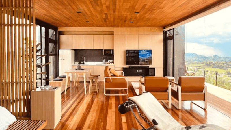wooden interiors in batangas airbnb