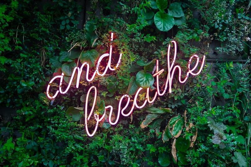 neon sign breathe
