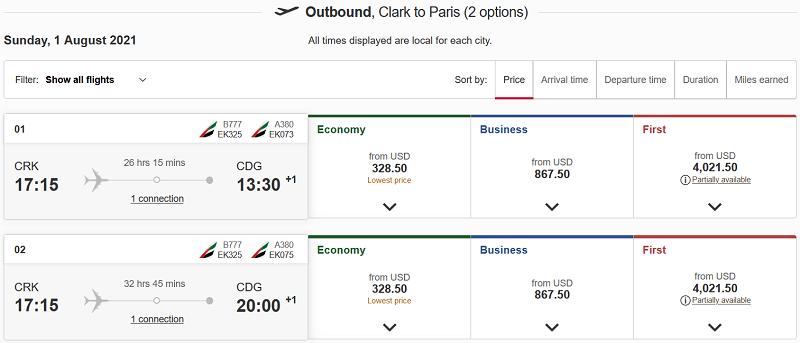 Clark to Paris Flight