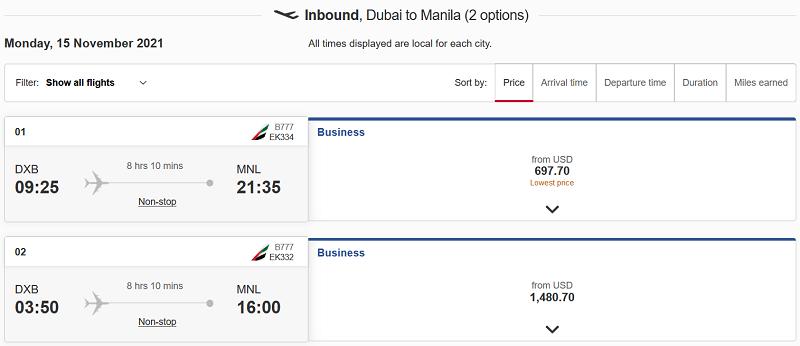 Dubai to Manila Flight