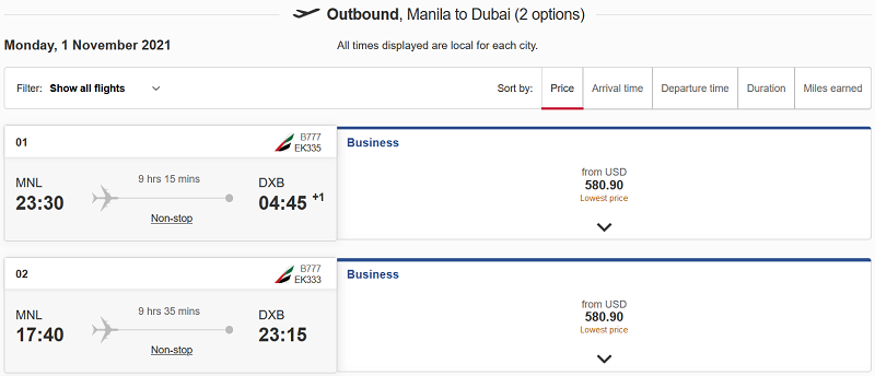 emirates seat sale: Manila to Dubai Flight