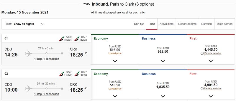 Paris to Clark Flight
