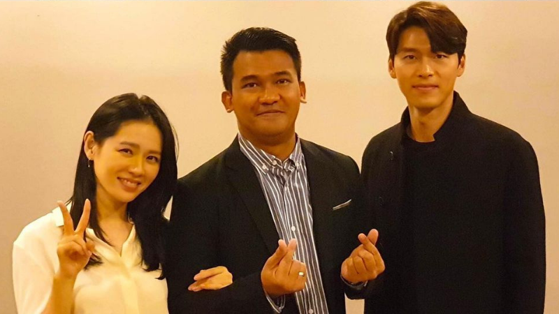Squid Game Actor Christian Lagahit with Son Ye-jin and Hyun Bin