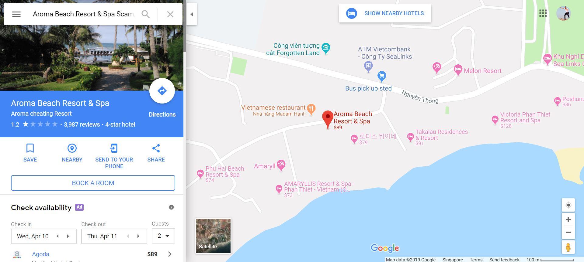 Diễn biến sự việc Aroma Beach Resort