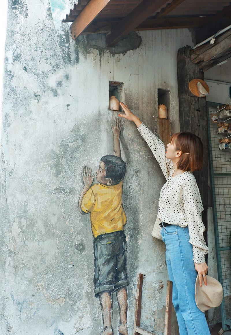Du lịch tự túc Singapore - Malaysia - tranh tường Penang